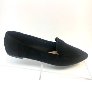 Classic Black Loafers - Pointed Toe- Faux Suede
